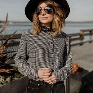 Topshop Gingham Long Sleeve Leather Collared Shirt